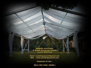 Sewa Tenda Roder Transparan Semi Dekorasi Kain Juntai